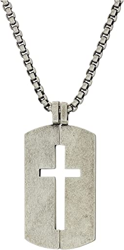 "Open Cross Dogtag Necklace with 18"" Box Chain"