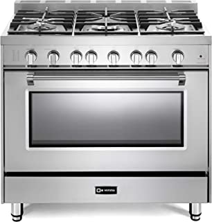 Verona Prestige Series VPFSGG365SS 36 inch All Gas Range Oven 5 Sealed Burners Stainless Steel Storage Drawer Turbo Convection