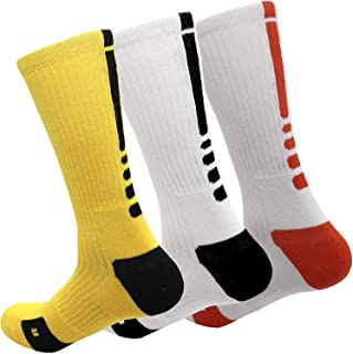 MUMUBREAL Men's Basketball Socks Cushioned Dri-Fit Athletic Crew Socks