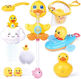 FUN LITTLE TOYS 9 PCs Baby Bath Toys, Duck Spray Water Toy, Bath Squirters, Bath Boat, Fishing Net, Bathtub Toys for Kids,...