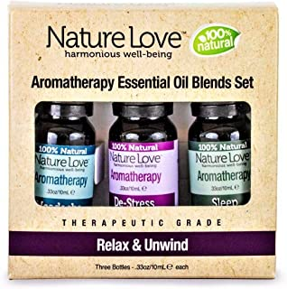 Nature Love RELAX + UNWIND Essential Aromatherapy + Massage Oil Blends, Set of 3