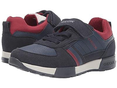 Geox Kids Jr Alfier 7 (Little Kid/Big Kid) (Navy/Red) Boys Shoes