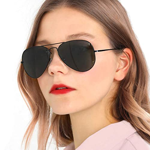 84260b177d Classic Polarized Womens Sunglasses Mirror UV400 Protection for Driving  Travel Outdoors with Oversized Metal Frame