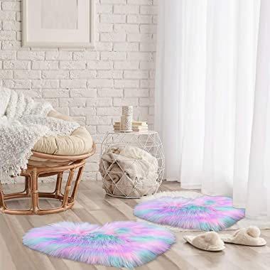 2 Pieces Fluffy Faux Sheepskin Area Rug Heart Shaped Rug Fluffy Room Carpet for Home Living Room Sofa Floor Bedroom, 12 x 16