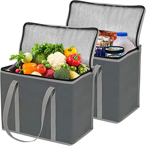2 Pack XL Insulated Grocery Bags, Eco Friendly Heavy Duty Foldable Insulated Shopping Bags for Groceries and Reusable...