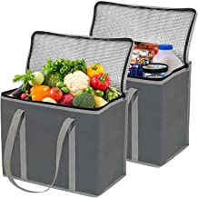 2 Pack XL Insulated Grocery Bags, Eco Friendly Heavy Duty Foldable Insulated Shopping Bags for Groceries and Reusable Zipp...