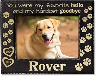 Personalize Dog Cat Pets in Memory Picture Frame Engraved (Gold or Silver) Unique Pet Loss Memorial Gift for Family