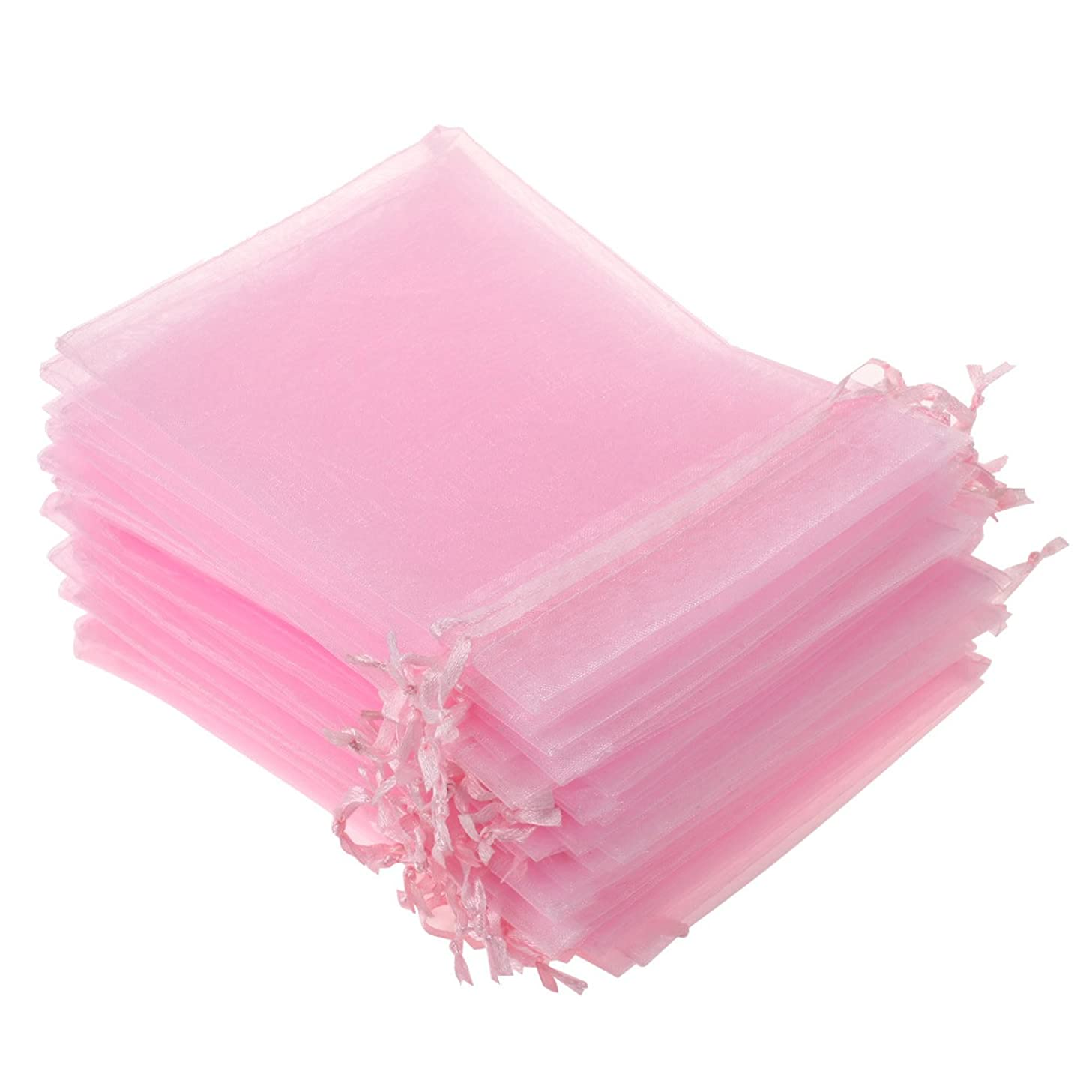 KUPOO Pack of 50PCS 8x12 Inch Organza Drawstring Gift Bag Pouch Wrap for Party/Game/Wedding (Pink)