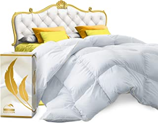 Cocoon Real Luxury Down Comforter Queen | 100% Egyptian Cotton 1200 Thread Count 750+FP | White Goose Down Comforter | Corner Tabs For King Duvet Insert/Queen Duvet Insert/Twin Duvets