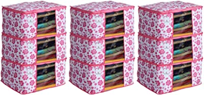 Heart Home 9 Piece Non Woven Saree Cover Set, Pink,Large Size, CTHH11713