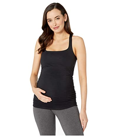 Beyond Yoga Maternity Heather Rib Square Neck Tank (Black Heather) Women