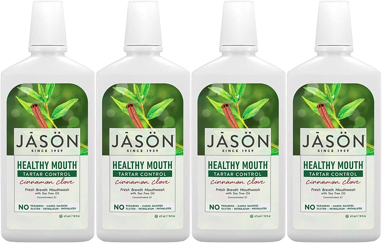 PACK OF 4 - Bargain sale Jason Directly managed store Healthy Mouth Tartar Control Cinnamo Mouthwash