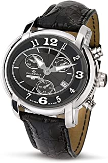 Philip Watch - Anniversary R8271650025 - Reloj de Caballero de Cuarzo, Correa de Piel Color Negro