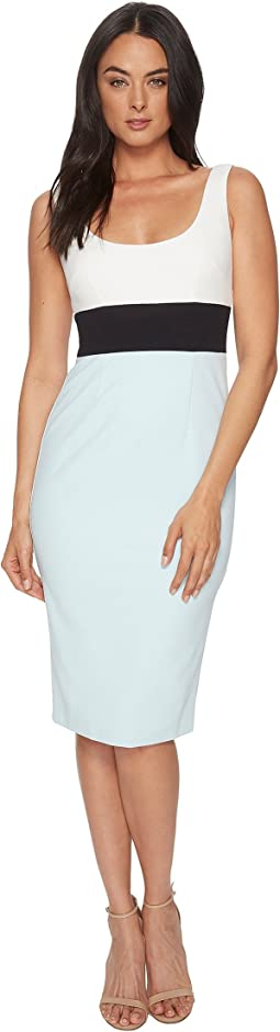 Donna Morgan - Sleeveless Scoop Neck Stretch Crepe Bodycon Midi Dress