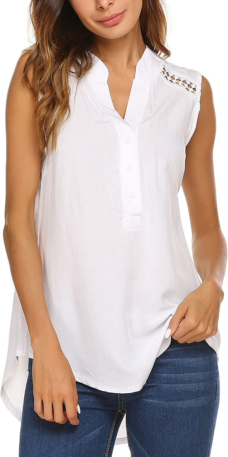 SoTeer Women Sleeveless Blouse Comfy V Neck Loose Casual Button Down Shirts