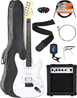 Vault ST1 Ovangkol Fretboard Electric Guitar - White with Amplifier, Instrument Cable, Gig Bag, Strap, Capo, Tuner, Strings, and Picks