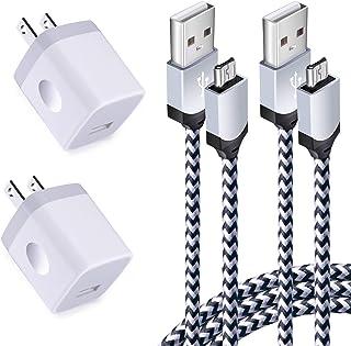 شاحن حائط USB وكابل USB صغير الحجم 4 عدة شاحن USB موصل مكعب مع كابل سلك صغير أندرويد متوافق مع Samsung Galaxy S7 Edge A10 ...
