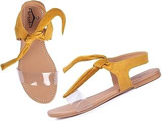 brauch Suede Transparent Tie Up Fashion Sandal for Girls/Women