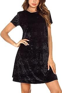 Women's Vintage Velvet Dress Short Sleeve Flared Dress