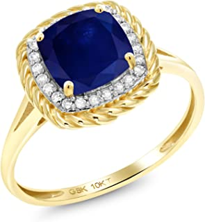 Gem Stone King 2.17 Ct Cushion Blue Sapphire White Diamond 10K Yellow Gold Ring (Available 5,6,7,8,9)