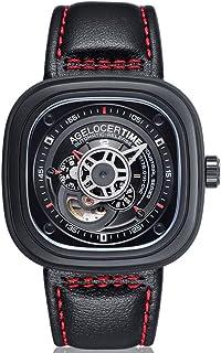agelocer 艾戈勒 瑞士品牌 50米防水 24小时显示 小牛皮 自动机械男士手表 时尚创意镂空方形男表 500(亚马逊自营商品, 由供应商配送)
