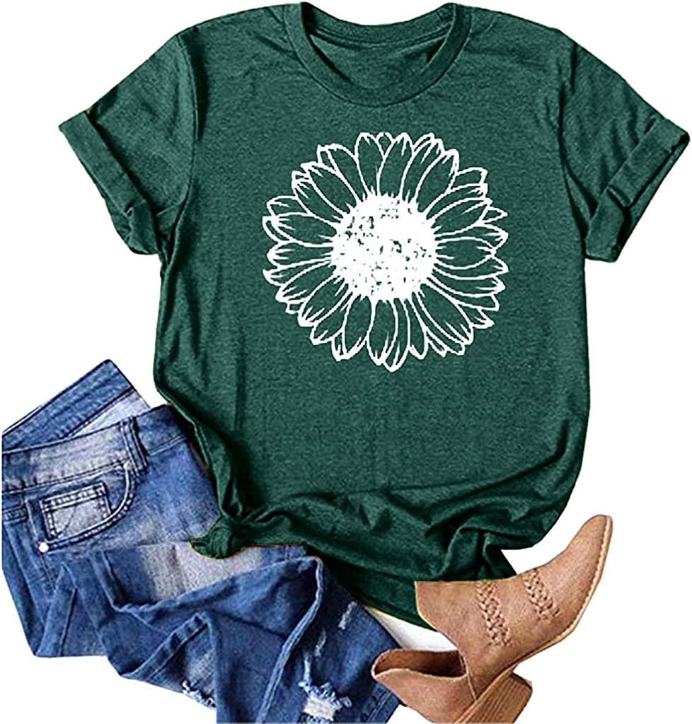 Sunflower Shirts for Women Summer Loose Casual T Shirt Junior Teen Girls Graphic Tees Plus Size