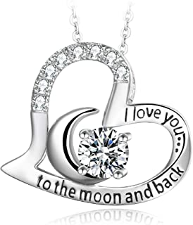 T400 925 Sterling Silver Necklace I Love You to The Moon and Back White Cubic Zirconia Moon Heart Pendant Birthday Gift for Women Girls