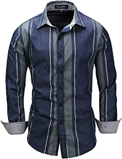 Pluseightin Fredd Marshall Men's 100% Cotton Long Sleeve Slim Fit Striped Patchwork Shirts