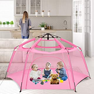 """Alvantor Playpen Play Yard Space Canopy Fence Pin 6 Panel Foldable and Portable Lightweight Safe Indoor Outdoor Infants Babies Toddlers Kids Pets 7'x7'44"""" Pink Patent"""