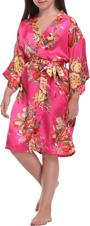Girls Satin Floral Robes Silky Kimono Spa Bathrobe Flower Girl Getting Ready Robe for Wedding Birthday Party
