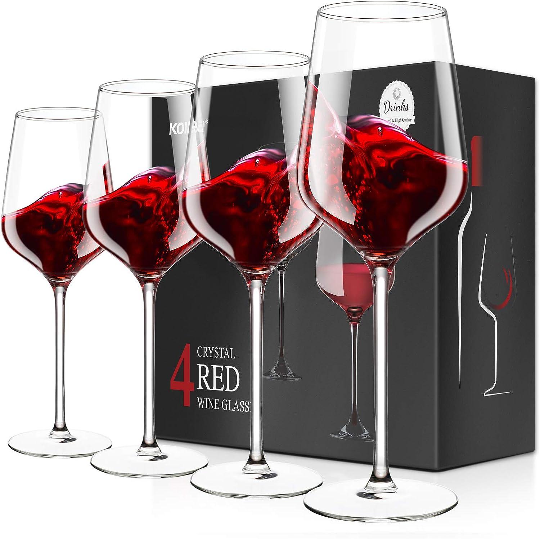Copas de Vino Tinto Set de 4, Kollea Vasos de Cristal soplado a mano sin plomo, Elegante Copas Vino Tinto & Blanco Regalos para Cmpleaños, Aniversario, Boda, Navidad - 500 ML