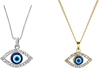 MOONDUST Silver and Gold Plated CZ Zirconia Studded Pack of 2 Evil Eye Pendant with Chain & Crystals for Girls and Women (...