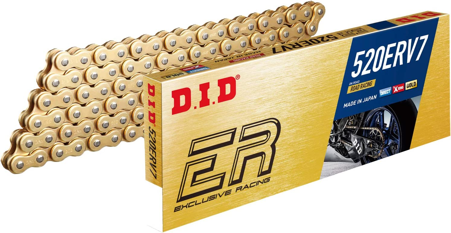 D.I.D 520ERV3-100 Gold 100-Link High Performance X-Ring Chain with Connecting Link