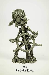 CAPRILO Set de 2 Figuras Decorativas de Metal Pirata con Timón. Adornos y Esculturas. Decoración Marinera para el Hogar. Regalos Originales. 7 x 3,5 x 12 cm.IB.2