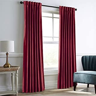 IYUEGO Burgundy Velvet Window Curtains for Bedroom,Blackout Velvet Curtain Thermal Insulated Back Top Window Curtain for Living Room (Set of one Panel, 52