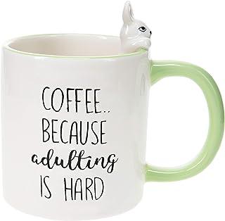 Pavilion Gift Company Adulting Is Hard-Bunny Green 17oz Dolomite Coffee Cup Mug
