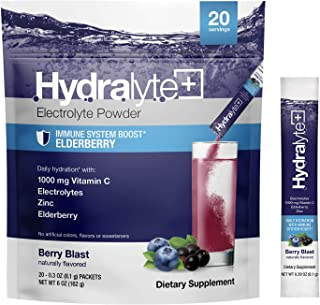Hydralyte Hydration Plus Immunity Support: 1,000mg Vitamin C, 300mg Elderberry, Zinc Plus 7 Key Electrolyte...