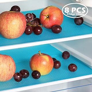 PABUSIOR Fridge Liner Mats Transparent 8/Pack, Washable Non-Slip Refrigerator Liners for Fruit and Vegetable Drawers, Raindrop EVA 11.8x17.7 (Blue)