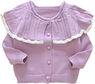 Drasawee Baby Girls Collarless Cable Knitted Sweater Coat Cardigan Tops Jackets
