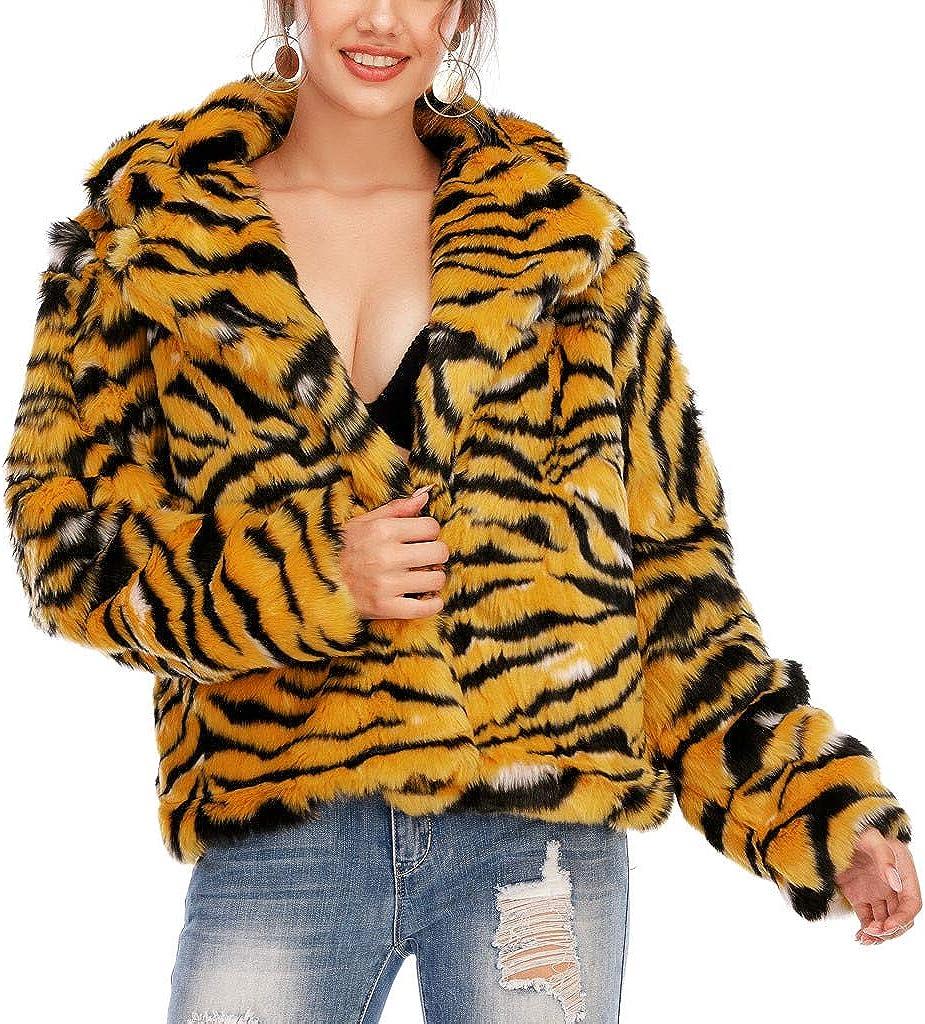 SPE969 Faux Fur Coat Womens Tiger Print Waistcoat Body Warm Jacket Long Sleeve Plush Outwear