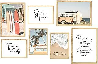 KAIRNE Lot de 7 Affiches Ensemble Premium de Salon,Poster de Citations Inspirantes,Tableaux Décoratifs de Plage,Image d'ar...