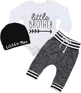 GRNSHTS Baby Boys Girls Outfits 3Pcs Pants Set Mountain Print Romper + Pants + Hat/Headband
