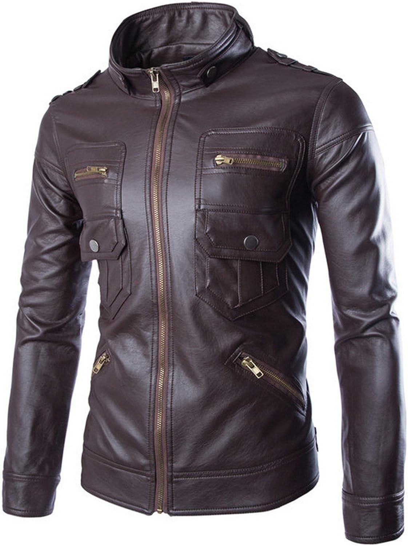 ZumZup Men's Black Jacket Motorcycle Leather Coat Biker Style Casual Smart Waterproof Large 3colour S-3XL Spring Autumn