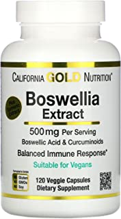 California Gold Nutrition Boswellia Extract, Plus Turmeric Extract, 500 mg, 120 Veggie Capsules