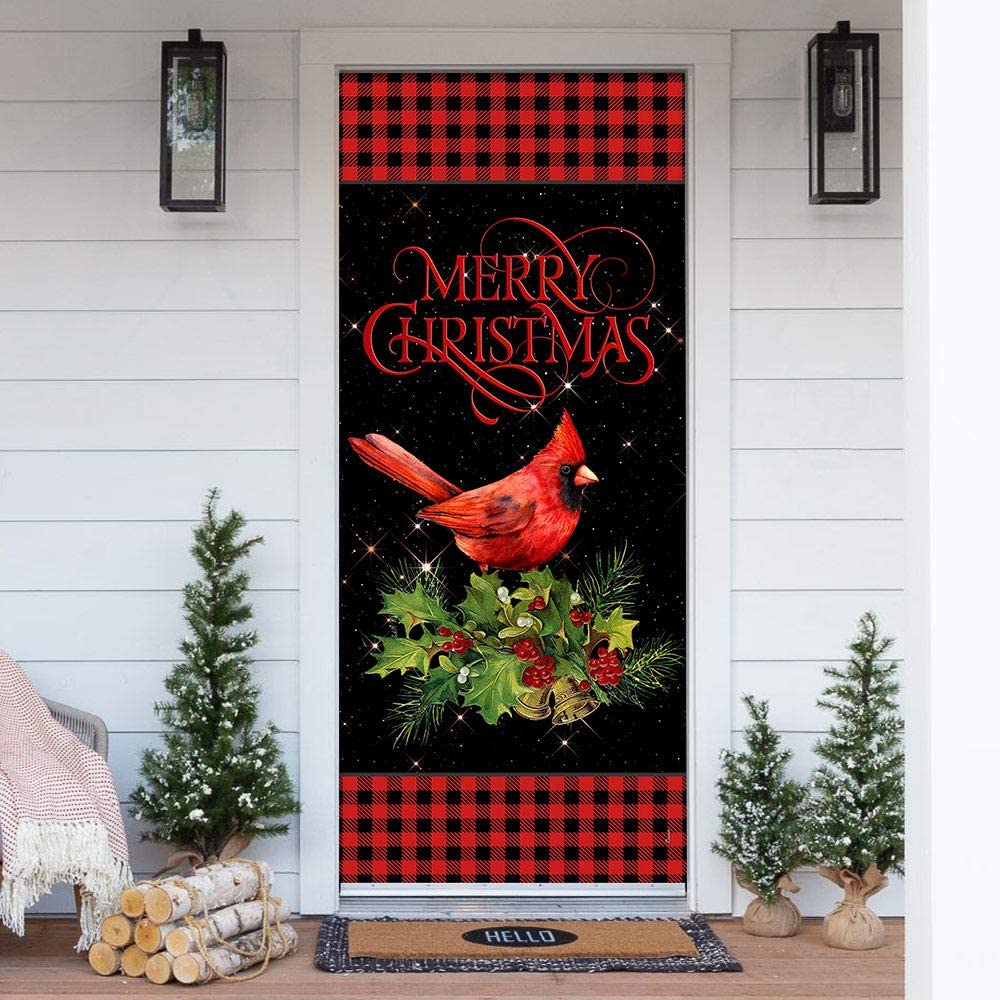 Ranking TOP10 FLAGWIX New Orleans Mall Door Covers Printed-Merry Cover Cardinal Christmas