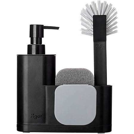 Vigar Rengo Monobloc 4-piece Sink Caddy Set, Includes Scrub Brush, Two-sided Sponge, Soap Dispenser and Scraper, Black