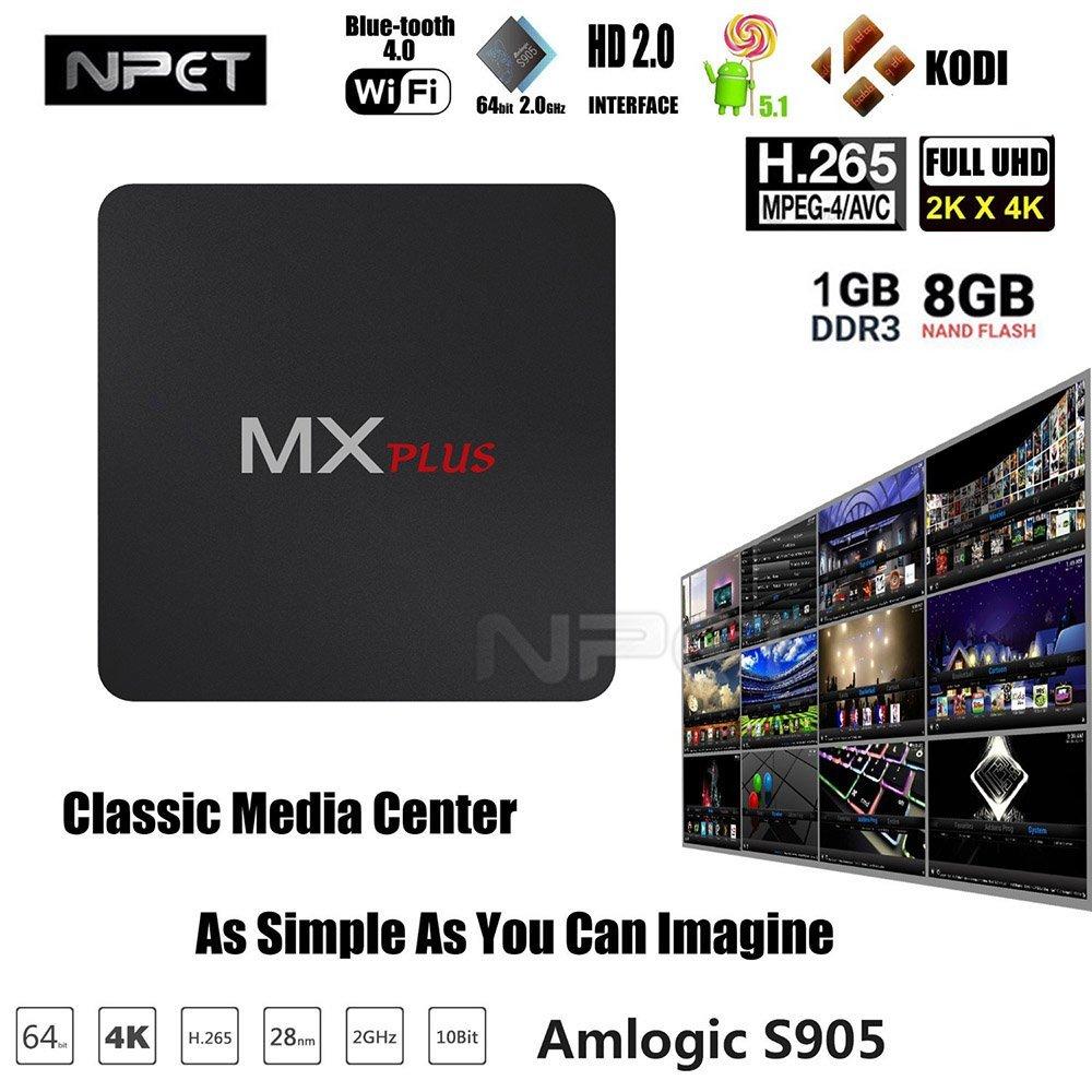 NPET mxplus Smart Android 5.1 TV Box MX + Plus S905 Quad Core 1 G/8G KODI WIFI 4 K Streamer Sports programas de televisión integrado para entretenimiento de electrodoméstico: Amazon.es: Electrónica