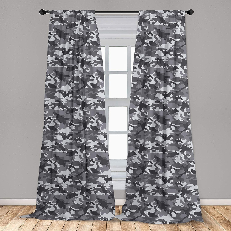 Ambesonne Camouflage 2 Panel Curtain Set, Monochrome Attire Pattern Camouflage Inside Vegetation Fashion Design Print, Lightweight Window Treatment Living Room Bedroom Decor, 56
