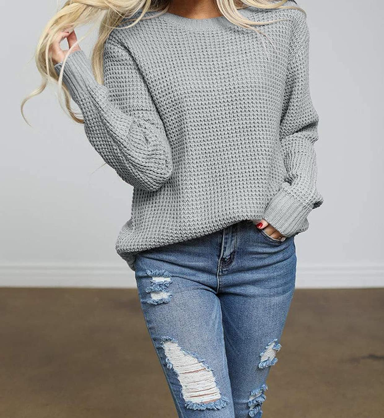 ZESICA Women's Long Sleeve Crew Neck Waffle Knit Casual Loose Oversized Pullover Sweater Jumper Tops