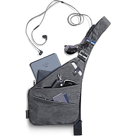 NIID-FINO Brusttasche Herren Und Damen, Sling Crossbody Bag Umhängetaschen Schultertaschen für Herren Multipurpose Rucksack Anti-Diebstahl &Wasserresistent (Grau, Rechte Hand)